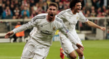 MUNICH, GERMANY - APRIL 29:  Sergio Ramos of Real Madrid celebrates scoring the first goal during the UEFA Champions League semi-final second leg match between FC Bayern Muenchen and Real Madrid at Allianz Arena on April 29, 2014 in Munich, Germany.  (Photo by Adam Pretty/Bongarts/Getty Images)