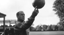 25th October 1960:  Spanish footballer Alfredo di Stefano, one of the world's greatest forwards, spinning a ball on one finger during Spain's team practice at Roehampton in preparation for their match against England at Wembley.  (Photo by Terry Disney/Central Press/Getty Images)