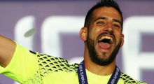 TRONDHEIM, NORWAY - AUGUST 09: Kiko Casilla of Real Madrid lifts the trophy following victory in the UEFA Super Cup match between Real Madrid and Sevilla at Lerkendal Stadion on August 9, 2016 in Trondheim, Norway.  (Photo by Michael Steele/Getty Images)