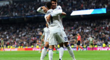 MADRID, SPAIN - OCTOBER 18:  Lucas Vazquez (front) of Real Madrid celebrates scoring his team's fourth goal with his team mate Alvaro Morata during the UEFA Champions League Group F match between Real Madrid CF and Legia Warszawa at Bernabeu on October 18, 2016 in Madrid, Spain.  (Photo by Denis Doyle/Getty Images)