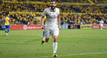 Real Madrid's defender Nacho Fernandez celebrates his teammate Alvaro Morata's goal during the Spanish league football match UD Las Palmas vs Real Madrid CF at the Gran Canaria stadium in Las Palmas de Gran Canaria on September 24, 2016. / AFP / DESIREE MARTIN        (Photo credit should read DESIREE MARTIN/AFP/Getty Images)