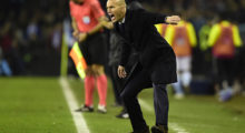 Real Madrid's French coach Zinedine Zidane shouts instructions from the sideline during the Spanish Copa del Rey (King's Cup) quarter final second leg football match RC Celta de Vigo vs Real Madrid CF RC Celta de Vigo on January 25, 2017. / AFP / MIGUEL RIOPA        (Photo credit should read MIGUEL RIOPA/AFP/Getty Images)