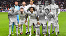 (Front L-R) Real Madrid's Colombian midfielder James Rodriguez, Real Madrid's defender Dani Carvajal, Real Madrid's Brazilian defender Marcelo, Real Madrid's midfielder Lucas Vazquez, Real Madrid's Croatian midfielder Luka Modric (Back L-R) Real Madrid's Costa Rican goalkeeper Keylor Navas, Real Madrid's defender Sergio Ramos, Real Madrid's French defender Raphael Varane, Real Madrid's French forward Karim Benzema, Real Madrid's Brazilian midfielder Casemiro and Real Madrid's Portuguese forward Cristiano Ronaldo pose before the UEFA Champions League football match Real Madrid CF vs Borussia Dortmund at the Santiago Bernabeu stadium in Madrid on December 7, 2016. / AFP / PIERRE-PHILIPPE MARCOU        (Photo credit should read PIERRE-PHILIPPE MARCOU/AFP/Getty Images)