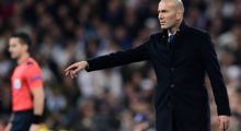 Real Madrid's French coach Zinedine Zidane gestures during the UEFA Champions League round of 16 first leg football match Real Madrid CF vs SSC Napoli at the Santiago Bernabeu stadium in Madrid on February 15, 2017. / AFP / JAVIER SORIANO        (Photo credit should read JAVIER SORIANO/AFP/Getty Images)