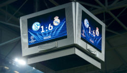 GELSENKIRCHEN, GERMANY - FEBRUARY 26:  The final scores is seen after the UEFA Champions League Round of 16 first leg match between Schalke 04 and Real Madrid CF at Veltins-Arena on February 26, 2014 in Gelsenkirchen, Germany.  (Photo by Dennis Grombkowski/Bongarts/Getty Images)