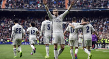 Real Madrid's Welsh forward Gareth Bale celebrates a goal during the Spanish league football match Real Madrid CF vs RCD Espanyol at the Santiago Bernabeu stadium in Madrid on February 18, 2017. / AFP / JAVIER SORIANO        (Photo credit should read JAVIER SORIANO/AFP/Getty Images)
