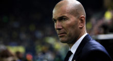 Real Madrid's coach, Zinedine Zidane, looks on during the Spanish League football match Villarreal CF vs Real Madrid at El Madrigal stadium in Vila-real on February 26, 2017.  / AFP / BIEL ALINO        (Photo credit should read BIEL ALINO/AFP/Getty Images)