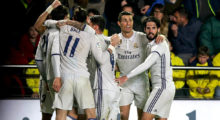 Real Madrid players celebrate their goal during the Spanish League football match Villarreal CF vs Real Madrid at El Madrigal stadium in Vila-real on February 26, 2017.  / AFP / BIEL ALINO        (Photo credit should read BIEL ALINO/AFP/Getty Images)