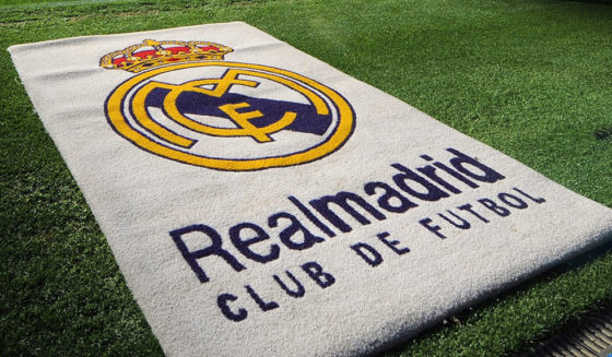 MADRID, SPAIN - MARCH 22: The Real Madrid emblem is seen before the start of the La Liga match between Real Madrid and UD Almeria at the Santiago Bernabeu stadium on March 22, 2009 in Madrid, Spain. (Photo by Denis Doyle/Getty Images)