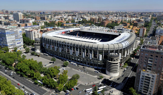 Aerial view of Santiago Bernabeu Stadium of Real Madrid from the top of the Europa Tower in Madrid on September 12, 2013. AFP PHOTO / GERARD JULIEN (Photo credit should read GERARD JULIEN/AFP/Getty Images)