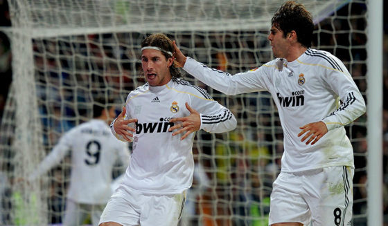 MADRID, SPAIN - MARCH 06: Sergio Ramos (L) of Real Madrid celebrates scoring his sides equalizing goal with his teammate Kaka during the La Liga match between Real Madrid and Sevilla at the Estadio Santiago Bernabeu on March 6, 2010 in Madrid, Spain. Real Madrid won the match 3-2. (Photo by Jasper Juinen/Getty Images)