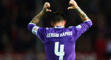 SEVILLE, SPAIN - JANUARY 12:  Sergio Ramos of Real Madrid CF celebrates after scoring the second goal of Real Madrid CF during the Copa del Rey Round of 16 Second Leg match between Sevilla FC vs Real Madrid CF at Ramon Sanchez Pizjuan stadium on January 12, 2017 in Seville, Spain.  (Photo by Aitor Alcalde/Getty Images)