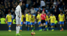MADRID, SPAIN - MARCH 01:  Cristiano Ronaldo of Real Madrid CF reacts as UD las Palmas celebrate their second goal  during the La Liga match between Real Madrid CF and UD Las Palmas at Estadio Santiago Bernabeu on March 1, 2017 in Madrid, Spain.  (Photo by Gonzalo Arroyo Moreno/Getty Images)