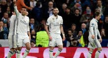 Real Madrid's Brazilian midfielder Casemiro (2L) celebrates a goal with Real Madrid's French forward Karim Benzema (C) and Real Madrid's Croatian midfielder Luka Modric during the UEFA Champions League round of 16 first leg football match Real Madrid CF vs SSC Napoli at the Santiago Bernabeu stadium in Madrid on February 15, 2017. / AFP / JAVIER SORIANO        (Photo credit should read JAVIER SORIANO/AFP/Getty Images)