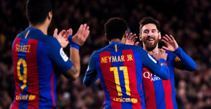 BARCELONA, SPAIN - MARCH 04: Lionel Messi (R) of FC Barcelona celebrates with his teammates Neymar Santos Jr (C) and Luis Suarez (L) after scoring his team's fifth goal during the La Liga match between FC Barcelona and RC Celta de Vigo at Camp Nou stadium on March 4, 2017 in Barcelona, Spain. (Photo by Alex Caparros/Getty Images)