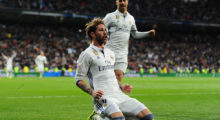 MADRID, SPAIN - MARCH 12:  Sergio Ramos of Real Madrid celebrates after scoring Real's 2nd goal during the La Liga match between Real Madrid CF and Real Betis Balompie at Estadio Santiago Bernabeu on March 12, 2017 in Madrid, Spain.  (Photo by Denis Doyle/Getty Images)