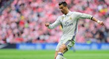 Real Madrid's Portuguese forward Cristiano Ronaldo kicks the ball during the Spanish league football match Athletic Club Bilbao vs Real Madrid CF at the San Mames stadium in Bilbao on March 18, 2017. / AFP PHOTO / ANDER GILLENEA        (Photo credit should read ANDER GILLENEA/AFP/Getty Images)