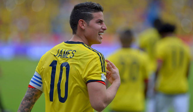 Colombia's midfielder James Rodriguez celebrates after scoring against Bolivia on penalty during their 2018 FIFA World Cup qualifier football match in Barranquilla, on March 23, 2017. / AFP PHOTO / LUIS ROBAYO        (Photo credit should read LUIS ROBAYO/AFP/Getty Images)