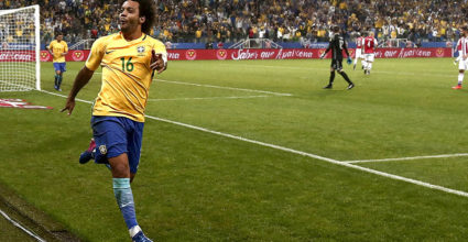 Brazil's midfielder Marcelo celebrates after scoring against Paraguay during their 2018 FIFA World Cup qualifier football match in Sao Paulo, Brazil on March 28, 2017. / AFP PHOTO / Miguel SCHINCARIOL        (Photo credit should read MIGUEL SCHINCARIOL/AFP/Getty Images)
