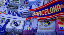 MADRID, SPAIN - OCTOBER 25:  erchandise goes on sale prior to kickof the La Liga match between Real Madrid CF and FC Barcelona at Estadio Santiago Bernabeu on October 25, 2014 in Madrid, Spain.  (Photo by Gonzalo Arroyo Moreno/Getty Images)