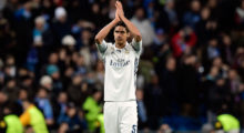 Real Madrid's French defender Raphael Varane claps at the end of the UEFA Champions League round of 16 first leg football match Real Madrid CF vs SSC Napoli at the Santiago Bernabeu stadium in Madrid on February 15, 2017. / AFP / JAVIER SORIANO        (Photo credit should read JAVIER SORIANO/AFP/Getty Images)