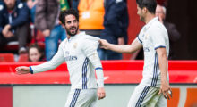GIJON, SPAIN - APRIL 15:  Isco of Real Madrid celebrates with his teammates Alvaro Morata  of Real Madrid after scoring his team's third goal during the La Liga match between Real Sporting de Gijon and Real Madrid at Estadio El Molinon on April 15, 2017 in Gijon, Spain.  (Photo by Juan Manuel Serrano Arce/Getty Images)