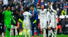 MADRID, SPAIN - APRIL 29: Sergio Ramos (2ndR) of Real Madrid CF celebrates with teammates goalkeeper Keylor Navas (L) and Marcelo (2ndL) after  the La Liga match between Real Madrid CF and Valencia CF at Estadio Santiago Bernabeu on April 29, 2017 in Madrid, Spain.  (Photo by Gonzalo Arroyo Moreno/Getty Images)