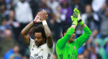 MADRID, SPAIN - APRIL 29: Marcelo (L) of Real Madrid CF celebrates with teammate goalkeeper Keylor Navas (R) after the La Liga match between Real Madrid CF and Valencia CF at Estadio Santiago Bernabeu on April 29, 2017 in Madrid, Spain.  (Photo by Gonzalo Arroyo Moreno/Getty Images)