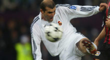 Glasgow, UNITED KINGDOM:  TO GO WITH AFP STORIES ABOUT ZIDANE's RETIREMENT - (FILES) - Picture taken 15 May 2002 in Glasgow showd Real Madrid's Zinedine Zidane shooting to score the second goal during the Champions League final opposing Real Madrid to Bayern Leverkusen. Real Madrid star and France legend Zinedine Zidane explained 26 April 2006 his decision to retire after the World Cup finals in Germany and not play on with his club for another year.   AFP PHOTO DAMIEN MEYER  (Photo credit should read DAMIEN MEYER/AFP/Getty Images)