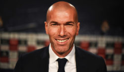 Real Madrid's new French coach Zinedine Zidane (L) poses before a press conference at the Santiago Bernabeu stadium in Madrid on January 5, 2016. AFP PHOTO/ PEDRO ARMESTRE / AFP / PEDRO ARMESTRE        (Photo credit should read PEDRO ARMESTRE/AFP/Getty Images)