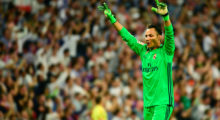 Real Madrid's Costa Rican goalkeeper Keylor Navas celebrates his team's goal during the Spanish league Clasico football match Real Madrid CF vs FC Barcelona at the Santiago Bernabeu stadium in Madrid on April 23, 2017. Barcelona won 3-2. / AFP PHOTO / PIERRE-PHILIPPE MARCOU        (Photo credit should read PIERRE-PHILIPPE MARCOU/AFP/Getty Images)