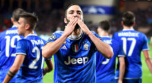 Juventus' forward from Argentina Gonzalo Higuain celebrates after scoring a goal during the UEFA Champions League semi-final first leg football match Monaco vs Juventus at the Stade Louis II stadium in Monaco on May 3, 2017.  / AFP PHOTO / FRANCK FIFE        (Photo credit should read FRANCK FIFE/AFP/Getty Images)