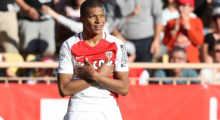 "Monaco's French forward Kylian Mbappe Lottin celebrates after scoring a goal during the French L1 football match Monaco (ASM) vs Toulouse (TFC) on April 29, 2017 at the ""Louis II Stadium"" in Monaco.   / AFP PHOTO / VALERY HACHE        (Photo credit should read VALERY HACHE/AFP/Getty Images)"