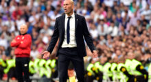 Real Madrid's French coach Zinedine Zidane gestures during the Spanish league football match Real Madrid CF vs Sevilla FC at the Santiago Bernabeu stadium in Madrid on May 14, 2017. / AFP PHOTO / GERARD JULIEN        (Photo credit should read GERARD JULIEN/AFP/Getty Images)