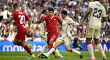 Sevilla's Argentinian midfielder Joaquin Correa (CL) vies with Real Madrid's Croatian midfielder Mateo Kovacic (CR) during the Spanish league football match Real Madrid CF vs Sevilla FC at the Santiago Bernabeu stadium in Madrid on May 14, 2017. / AFP PHOTO / GERARD JULIEN        (Photo credit should read GERARD JULIEN/AFP/Getty Images)