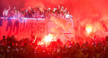 MADRID, SPAIN - MAY 21:  Real Madrid CF players arrive at Cibeles square after winning the La liga title on May 21, 2017 in Madrid, Spain.  Real earlier beat Malaga 2-0 in Malaga to clinch the Spanish league title.  (Photo by Denis Doyle/Getty Images)