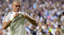 Real Madrid's Portuguese defender Pepe celebrates after scoring their second team goal during the Spanish league football match Real Madrid CF vs FC Barcelona at the Santiago Bernabeu stadium in Madrid on October 25, 2014.   AFP PHOTO/ JAVIER SORIANO        (Photo credit should read JAVIER SORIANO/AFP/Getty Images)