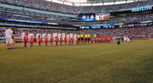 EAST RUTHERFORD, NJ - AUGUST 03:  Tehe team of Bayern Muenchen and Real Madrid line up before the International Champions Cup match between FC Bayern Muenchen and Real Madrid CF at MetLife Stadium on August 3, 2016 in East Rutherford, United States.  (Photo by Alexandra Beier/Bongarts/Getty Images)