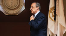 """Real Madrid's President Florentino Perez arrives for an AFP interview in the trophy room of the Santiago Bernabeu stadium in Madrid, on November 27, 2016. Zinedine Zidane's smooth transition from Real Madrid legend as a player to Champions League winning coach has caught many by surprise, but Real president Florentino Perez believes success was guaranteed by the Frenchman's """"love story"""" with the Spanish giants. / AFP / JAVIER SORIANO        (Photo credit should read JAVIER SORIANO/AFP/Getty Images)"""
