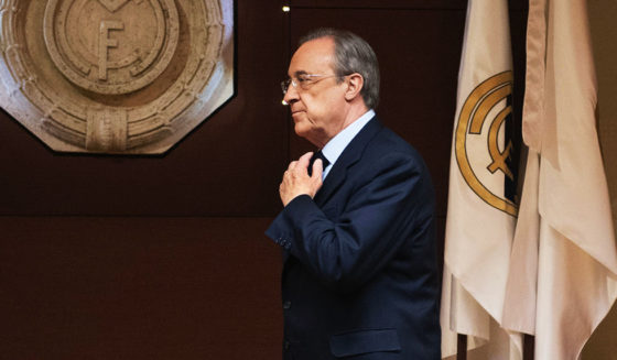 "Real Madrid's President Florentino Perez arrives for an AFP interview in the trophy room of the Santiago Bernabeu stadium in Madrid, on November 27, 2016. Zinedine Zidane's smooth transition from Real Madrid legend as a player to Champions League winning coach has caught many by surprise, but Real president Florentino Perez believes success was guaranteed by the Frenchman's ""love story"" with the Spanish giants. / AFP / JAVIER SORIANO (Photo credit should read JAVIER SORIANO/AFP/Getty Images)"