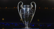 MANCHESTER, ENGLAND - FEBRUARY 24:  The Champions league trophy is seen prior to the UEFA Champions League Round of 16 match between Manchester City and Barcelona at Etihad Stadium on February 24, 2015 in Manchester, United Kingdom.  (Photo by Laurence Griffiths/Getty Images)