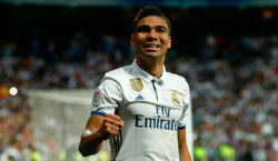 Real Madrid's Brazilian midfielder Casemiro celebrates a goal during the Spanish league football match Real Madrid CF vs FC Barcelona at the Santiago Bernabeu stadium in Madrid on April 23, 2017. / AFP PHOTO / OSCAR DEL POZO        (Photo credit should read OSCAR DEL POZO/AFP/Getty Images)