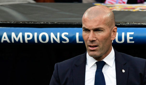 Real Madrid's French coach Zinedine Zidane looks on before the UEFA Champions League semifinal first leg football match Real Madrid CF vs Club Atletico de Madrid at the Santiago Bernabeu stadium in Madrid, on May 2, 2017. / AFP PHOTO / JAVIER SORIANO (Photo credit should read JAVIER SORIANO/AFP/Getty Images)