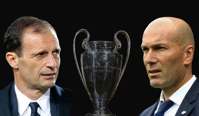 FILE PHOTO (EDITORS NOTE: GRADIENT ADDED) - Image numbers 464313758,674881574,686430224 ) In this composite image a comparision has been made between Juventus FC head coach Massimiliano Allegri and Zinedine Zidane, Head Coach of Real Madrid. Juventus and Real Madrid meet in the UEFA Champions League Final at the National Stadium of Wales on June 3, 2017 in Cardiff,Wales. ***LEFT IMAGE*** BERGAMO, ITALY - APRIL 28: Juventus FC coach Massimiliano Allegri looks on before the Serie A match between Atalanta BC and Juventus FC at Stadio Atleti Azzurri d'Italia on April 28, 2017 in Bergamo, Italy. (Photo by Emilio Andreoli/Getty Images) ***RIGHT IMAGE*** MALAGA, SPAIN - MAY 21: Zinedine Zidane, Manager of Real Madrid looks on during the La Liga match between Malaga and Real Madrid at La Rosaleda Stadium on May 21, 2017 in Malaga, Spain. (Photo by Aitor Alcalde/Getty Images)
