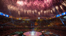 Fireworks explode during a celebration event held at the Santiago Bernabeu stadium after the team won the the UEFA Champions League football match final Juventus vs Real Madrid CF held at the National Stadium of Wales in Cardiff on June 3, 2017. / AFP PHOTO / CURTO DE LA TORRE        (Photo credit should read CURTO DE LA TORRE/AFP/Getty Images)