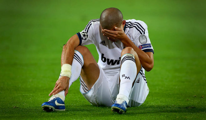 DORTMUND, GERMANY - OCTOBER 24: Pepe of Madird reacts during the UEFA Champions League group D match between Borussia Dortmund and Real Madrid at Signal Iduna Parkon October 24, 2012 in Dortmund, Germany. (Photo by Martin Rose/Bongarts/Getty Images)