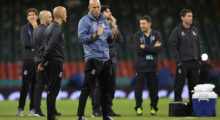 CARDIFF, WALES - JUNE 02: Zinedine Zidane, Manager of Real Madrid looks on during a Real Madrid training session prior to the UEFA Champions League Final between Juventus and Real Madrid at the National Stadium of Wales on June 2, 2017 in Cardiff, Wales.  (Photo by Matthias Hangst/Getty Images)