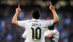 MADRID, SPAIN - JANUARY 10: James Rodriguez of Real Madrid celebrates after scoring Real's opening goal during the La Liga match between Real Madrid CF and RCD Espanyol at Estadio Santiago Bernabeu on January 10, 2015 in Madrid, Spain.  (Photo by Denis Doyle/Getty Images)