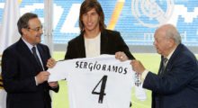 MADRID, Spain:  Real Madrid's president Florentino Perez (L) stands with new Spanish signing Sergio Ramos (C) and former Real Madrid player Alberto di Stefano as he is presented to the press at the Santiago Bernabeu stadium in Madrid, 08 September 2005. Ramos, formerly of Spanish club Seville was bought out of his contract for 27 million euros. The Ramos deal brings Real's summer spending on new players to 90 million euros. AFP PHOTO/PHILIPPE DESMAZES  (Photo credit should read PHILIPPE DESMAZES/AFP/Getty Images)