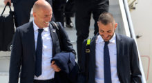 MILAN, ITALY - MAY 27:  In this handout image provided by UEFA Head coach Zinedine Zidane of Real Madrid and Karim Benzema arriving at Malpensa airport ahead of the UEFA Champions League Final on May 27, 2016 in Milan, Italy.  (Photo by Handout/UEFA via Getty Images)